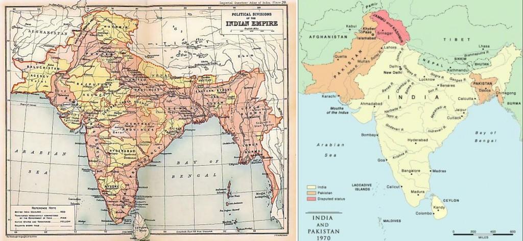 Indija pod Britanskim imperijem leta 1909 (levo) in leta 1970 (desno), vir: splet (Wikipedia)