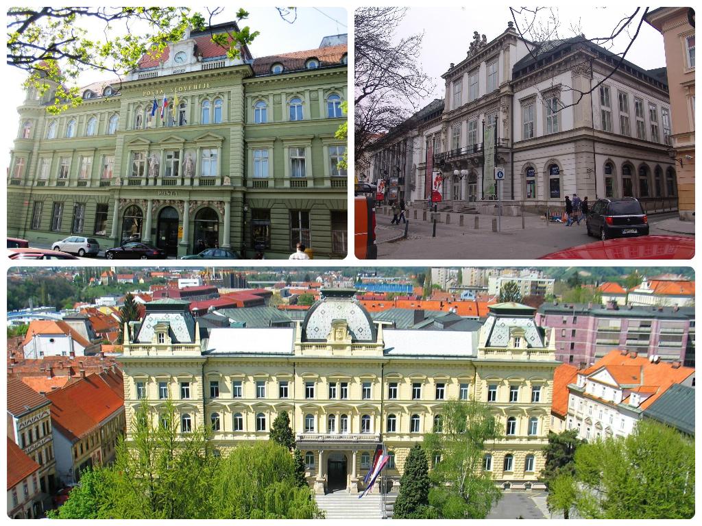 Levo Pošta, dseno Slovensko narodno gledališče, spodaj Unverza v Mariboru