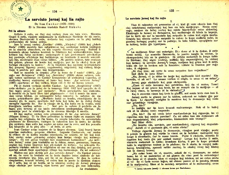 Prva objava Hlapca Jerneja v Esperanto-Praktiko leta 1929